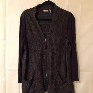 LOGO zip up jacket gray black w asymmetrical hem